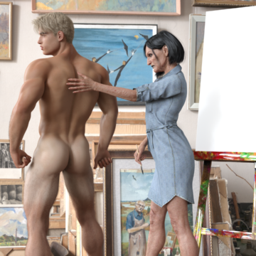 Painter and model